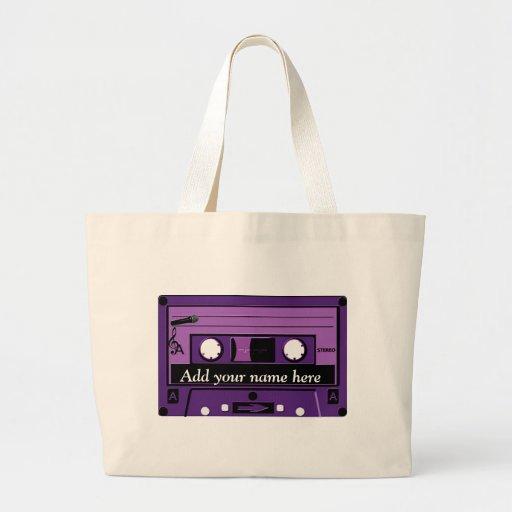 Casete púrpura Groove_ Bolsa Tela Grande