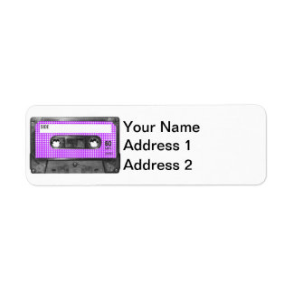 Casete púrpura y blanco de la etiqueta de Houndsto Etiqueta De Remite