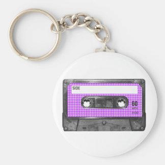 Casete púrpura y blanco de la etiqueta de Houndsto Llaveros Personalizados