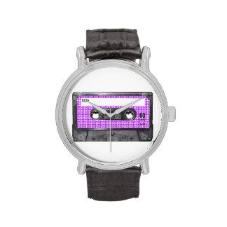 Casete púrpura y blanco de la etiqueta de Houndsto Relojes De Mano