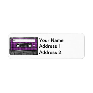 Casete púrpura y negro de la etiqueta de Houndstoo Etiqueta De Remite