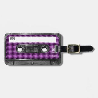Casete púrpura y negro de la etiqueta de Houndstoo Etiquetas De Equipaje