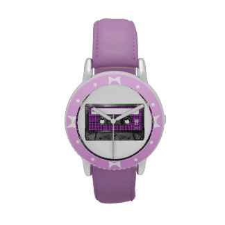 Casete púrpura y negro de la etiqueta de Houndstoo Reloj De Mano