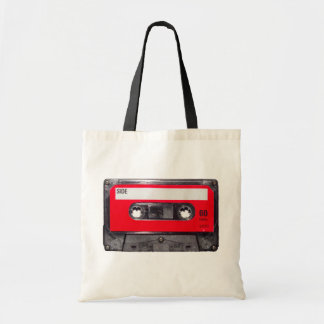 casete rojo de la etiqueta de los años 80 bolsa tela barata
