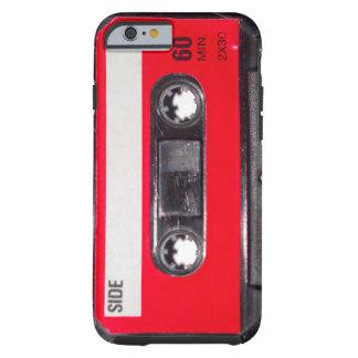 casete rojo de la etiqueta de los años 80 funda de iPhone 6 tough