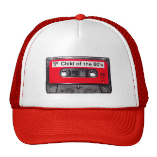 casete rojo de la etiqueta de los años 80 gorro de camionero