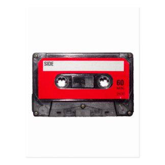 casete rojo de la etiqueta de los años 80 postal