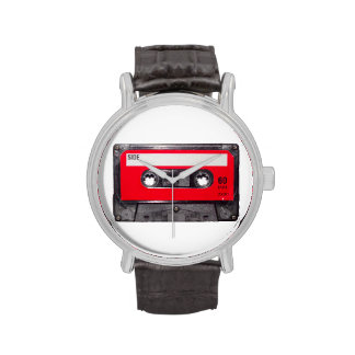 Casete rojo de la etiqueta relojes de pulsera