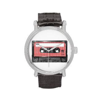 Casete rojo y blanco de la etiqueta de Houndstooth Relojes De Mano