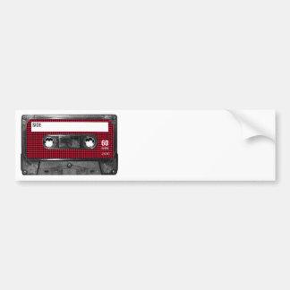 Casete rojo y negro de la etiqueta de Houndstooth Etiqueta De Parachoque