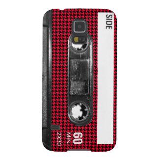 Casete rojo y negro de la etiqueta de Houndstooth Carcasa Galaxy S5