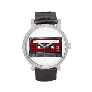 Casete rojo y negro de la etiqueta de Houndstooth Reloj De Mano