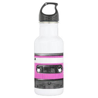 Casete rosado y blanco de la etiqueta de