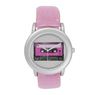 Casete rosado y blanco de la etiqueta de Houndstoo Reloj De Mano