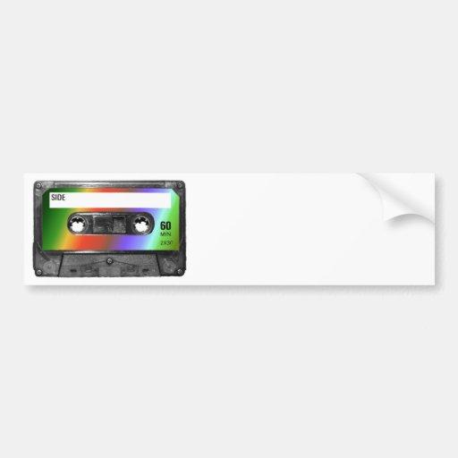 Casete tropical de la etiqueta del arco iris pegatina para auto