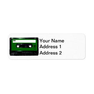 Casete verde de la etiqueta etiqueta de remite
