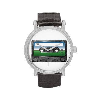 Casete verde del horizonte del campo relojes de mano