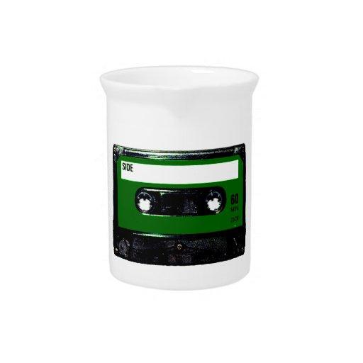 Casete verde oscuro de la etiqueta jarron