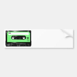 Casete verde y blanco de la etiqueta de Houndstoot Etiqueta De Parachoque