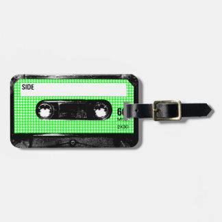 Casete verde y blanco de la etiqueta de Houndstoot Etiqueta De Equipaje