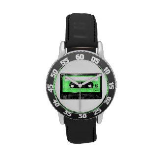 Casete verde y blanco de la etiqueta de Houndstoot Relojes De Pulsera