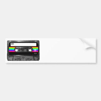 Casete w/Black y etiqueta de la raya del arco iris Etiqueta De Parachoque