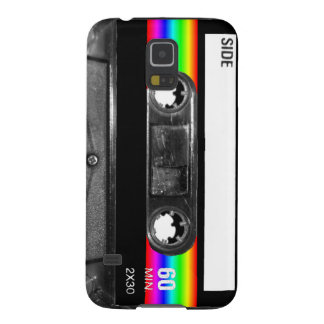 Casete w/Black y etiqueta de la raya del arco iris Carcasa Galaxy S5