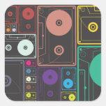 Casetes coloridos pegatinas cuadradas personalizadas