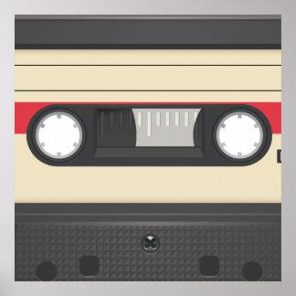 Casette Tape - Sunset Red Poster