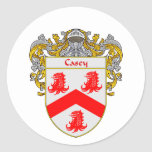 Casey Coat of Arms (Mantled) Round Stickers