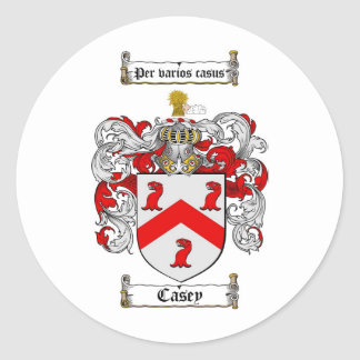 CASEY FAMILY CREST -  CASEY COAT OF ARMS CLASSIC ROUND STICKER
