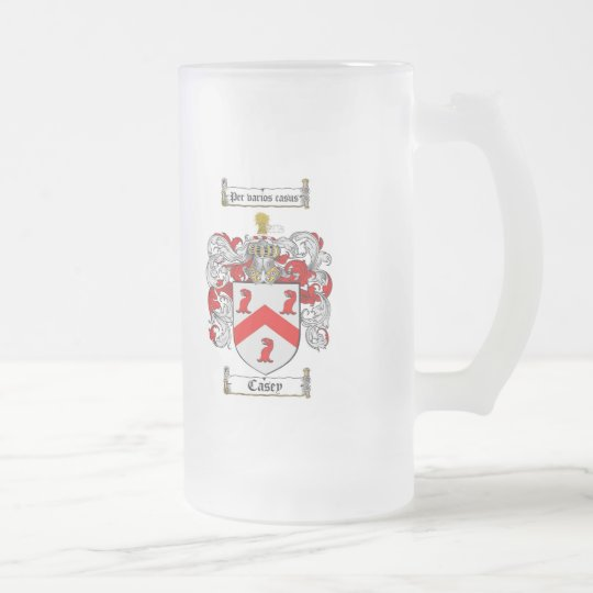 CASEY FAMILY CREST -  CASEY COAT OF ARMS FROSTED GLASS BEER MUG