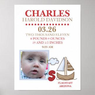 CASEY'S ABC Sailboat PHOTO Birth Wall Art Print