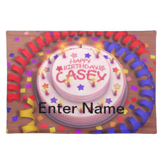 Casey's Birthday Cake Cloth Placemat