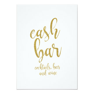 cash bar gold glitter affordable wedding sign card