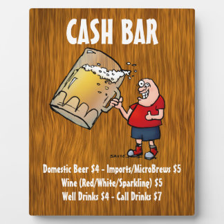 Cash Bar Sign With Funny Guy on Wood Background Photo Plaques