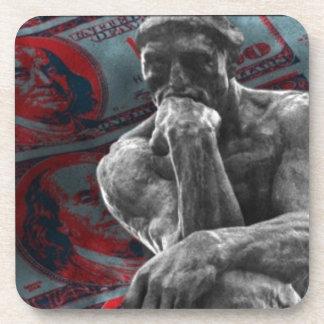 Cash Dollars Auguste Rodin the thinker Beverage Coaster