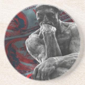 Cash Dollars Auguste Rodin the thinker Drink Coaster