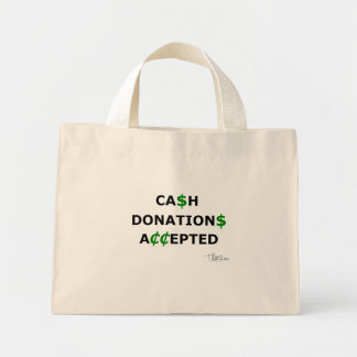 Cash Donations Accepted Canvas Bags