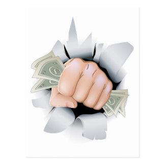 Cash fist breaking through wall postcard