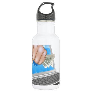 Cash Fist Laptop Concept 18oz Water Bottle