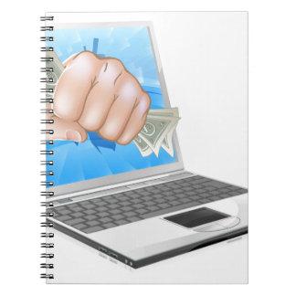 Cash Fist Laptop Concept Spiral Notebook