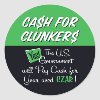 Cash for Clunkers Round Sticker