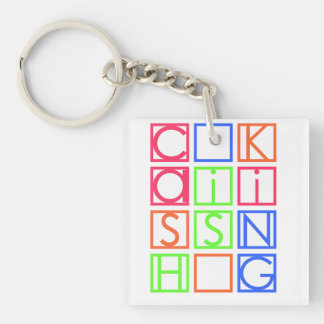 Cash Is King Square Keychain (Double-Sided, A)