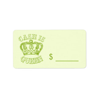 Cash Is Queen - Yard Sale Tags Label