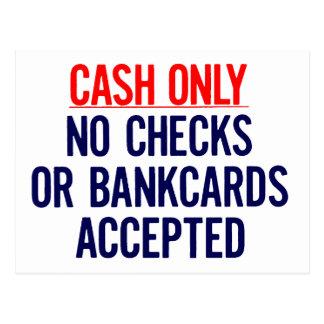 Cash Only No bank Sign Postcards