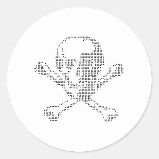 Cash Skull from Jolly Roger ascii art Classic Round Sticker