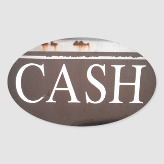 CASH Tow Truck Vintage Car Sign Oval Stickers