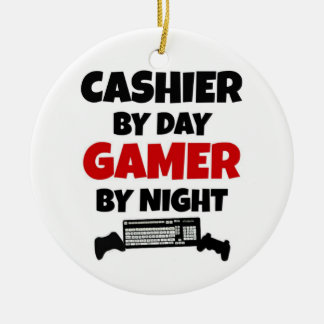 Cashier by Day Gamer by Night Double-Sided Ceramic Round Christmas Ornament
