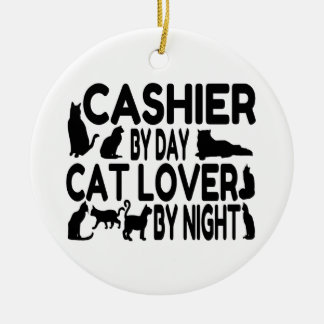 Cashier Cat Lover Double-Sided Ceramic Round Christmas Ornament